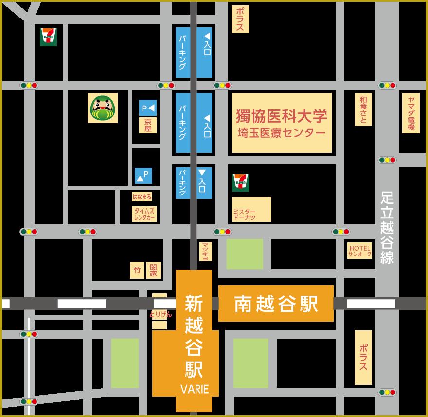 越谷市のだるまリハビリセンター地図
